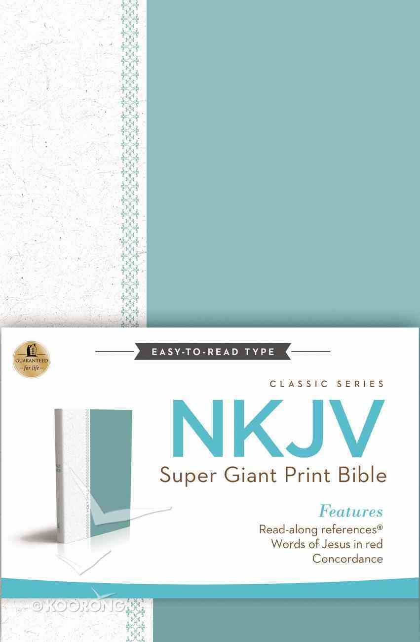 NKJV Super Giant Print Reference Bible Blue/White Cloth (Red Letter Edition) (Classic Series) Hardback