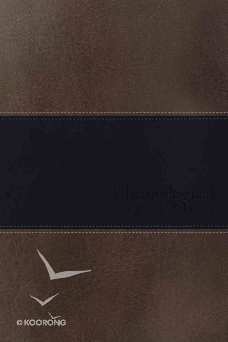 NKJV Chronological Study Bible Brown Navy (Black Letter Edition) (Signature Series) Imitation Leather