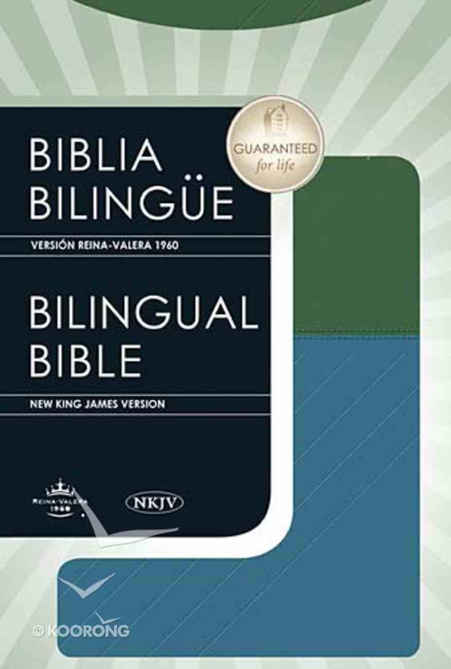 Nkjv/Rvr English/Spanish Bible Blue/Green Premium Imitation Leather