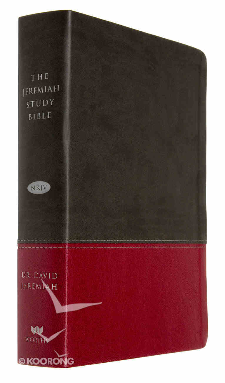 NKJV Jeremiah Study Bible Charcoal/Burgundy Leatherluxe Premium Imitation Leather