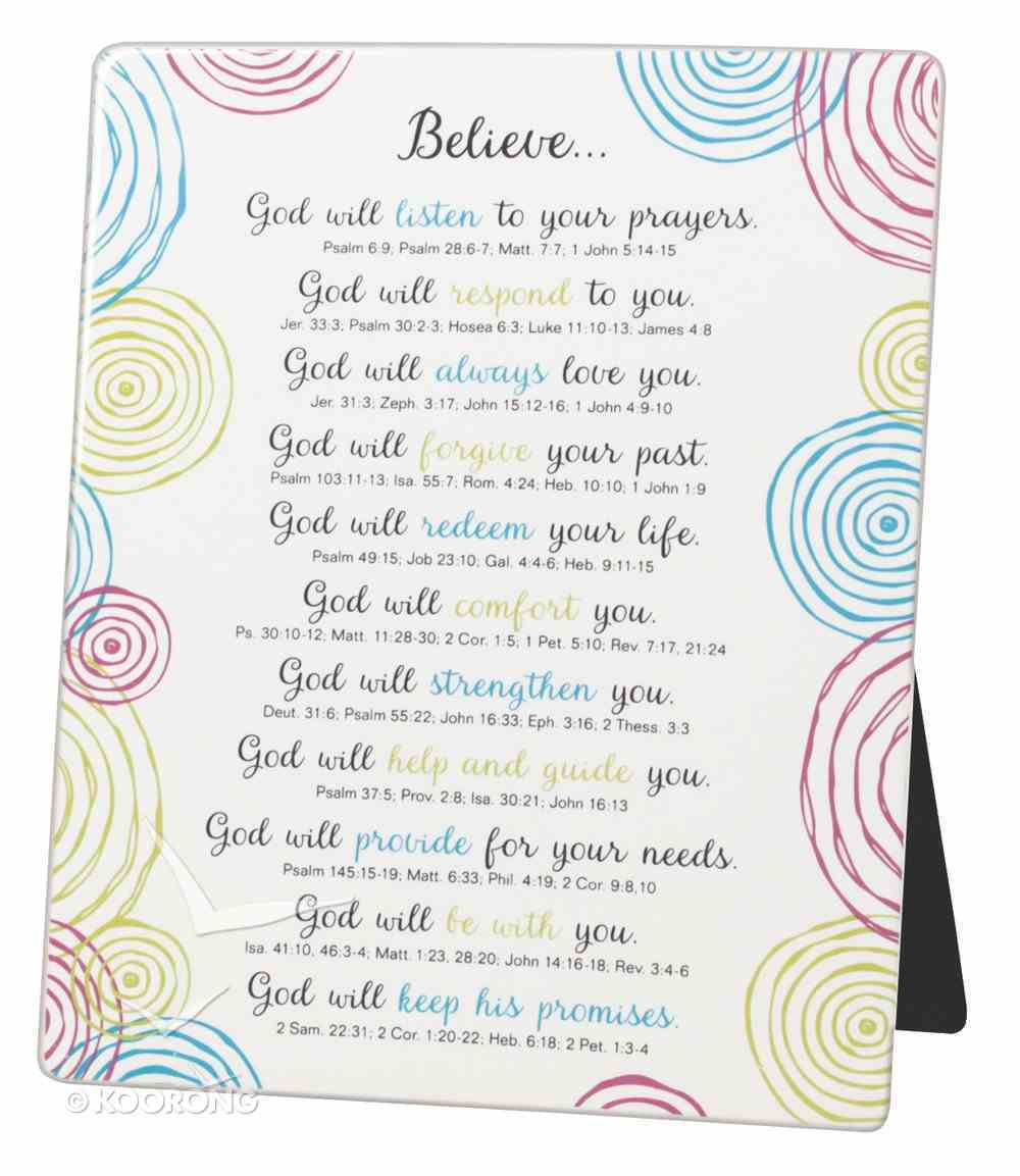 Word Study Plaque: Believe, Blue/Red/Yellow Swirls on White Plaque