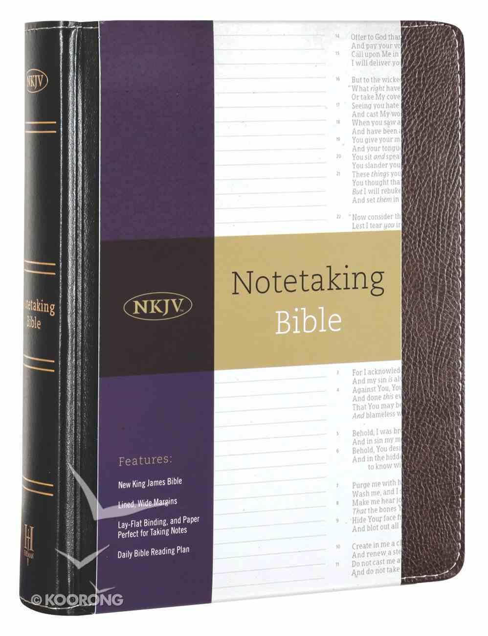 NKJV Notetaking Bible Black/Brown (Red Letter Edition) Bonded Leather
