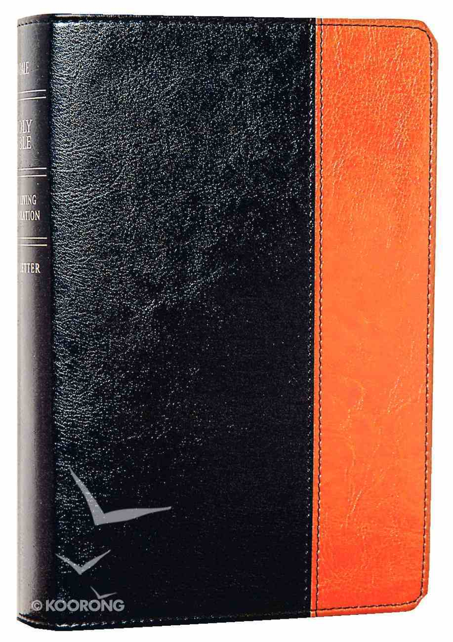 NLT Compact Large Print Bible Black Tan (Red Letter Edition) Imitation Leather