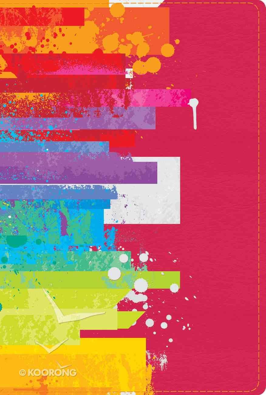 Ntv Biblia De Estudio Arco Iris, Acuarela Sobre Frambuesa Smil Piel Imitation Leather