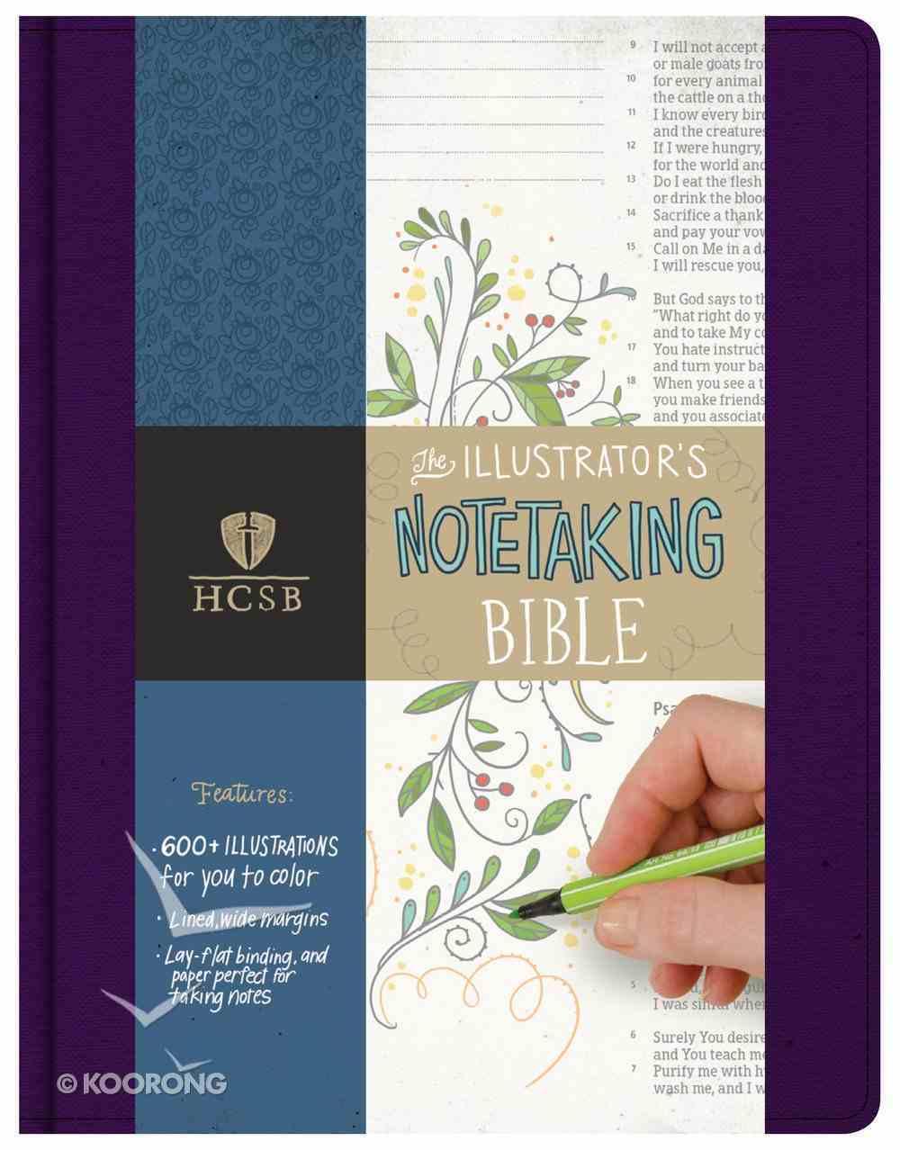 HCSB Illustrator's Notetaking Bible Purple Linen Fabric Over Hardback