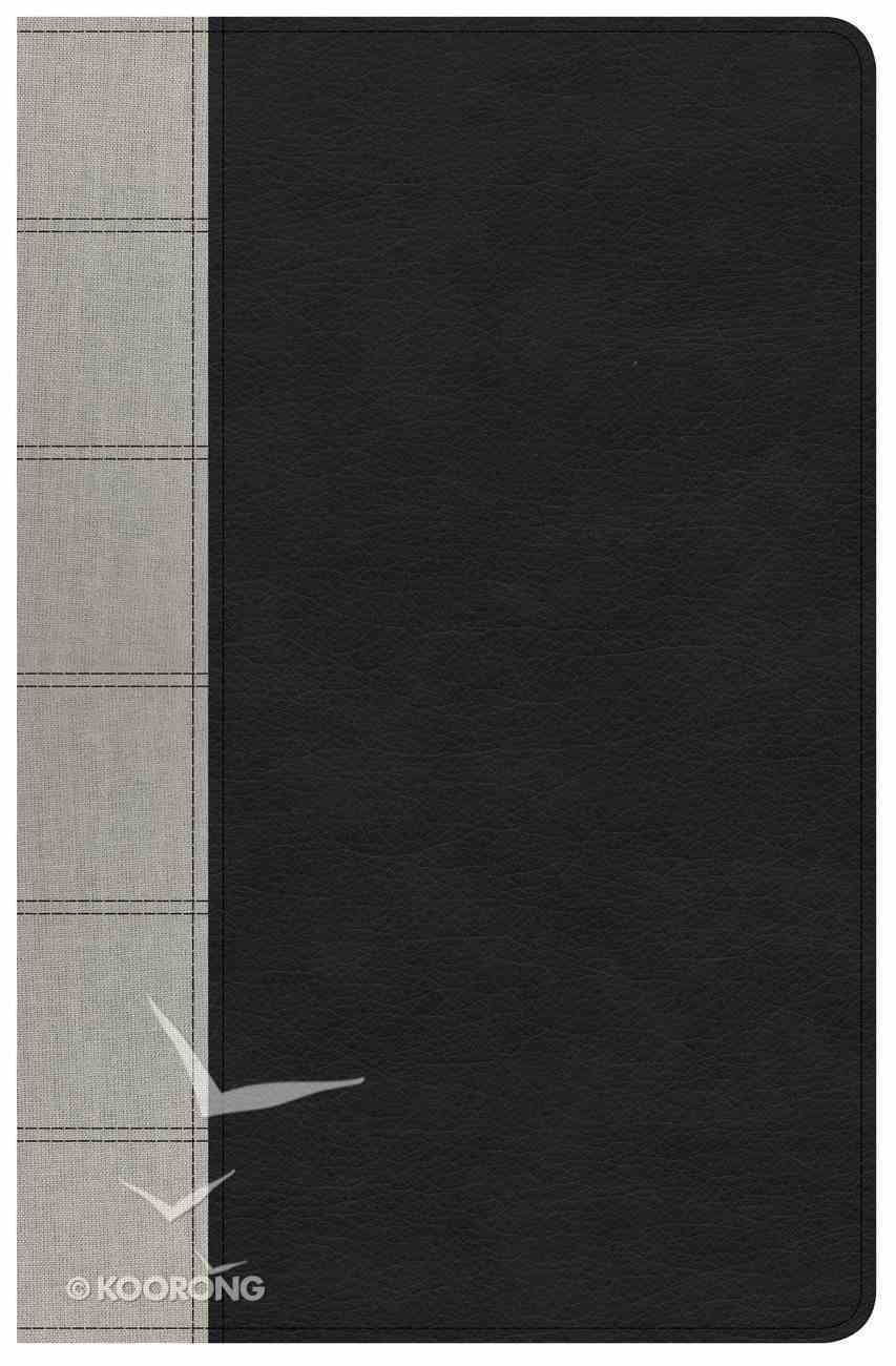 NKJV Large Print Personal Size Reference Bible Black/Gray Deluxe Premium Imitation Leather