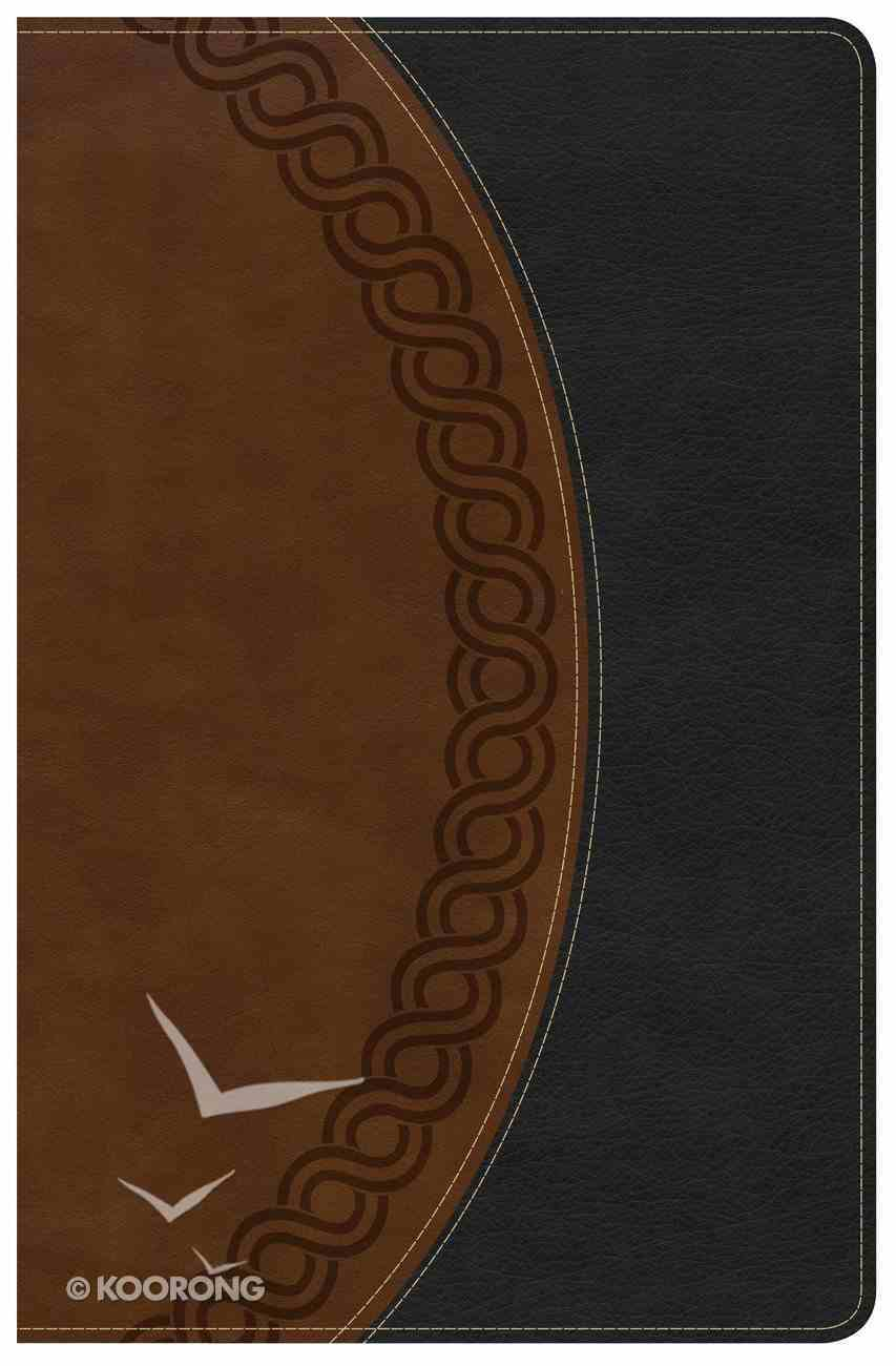 KJV Large Print Personal Size Reference Bible Black/Brown Deluxe Premium Imitation Leather