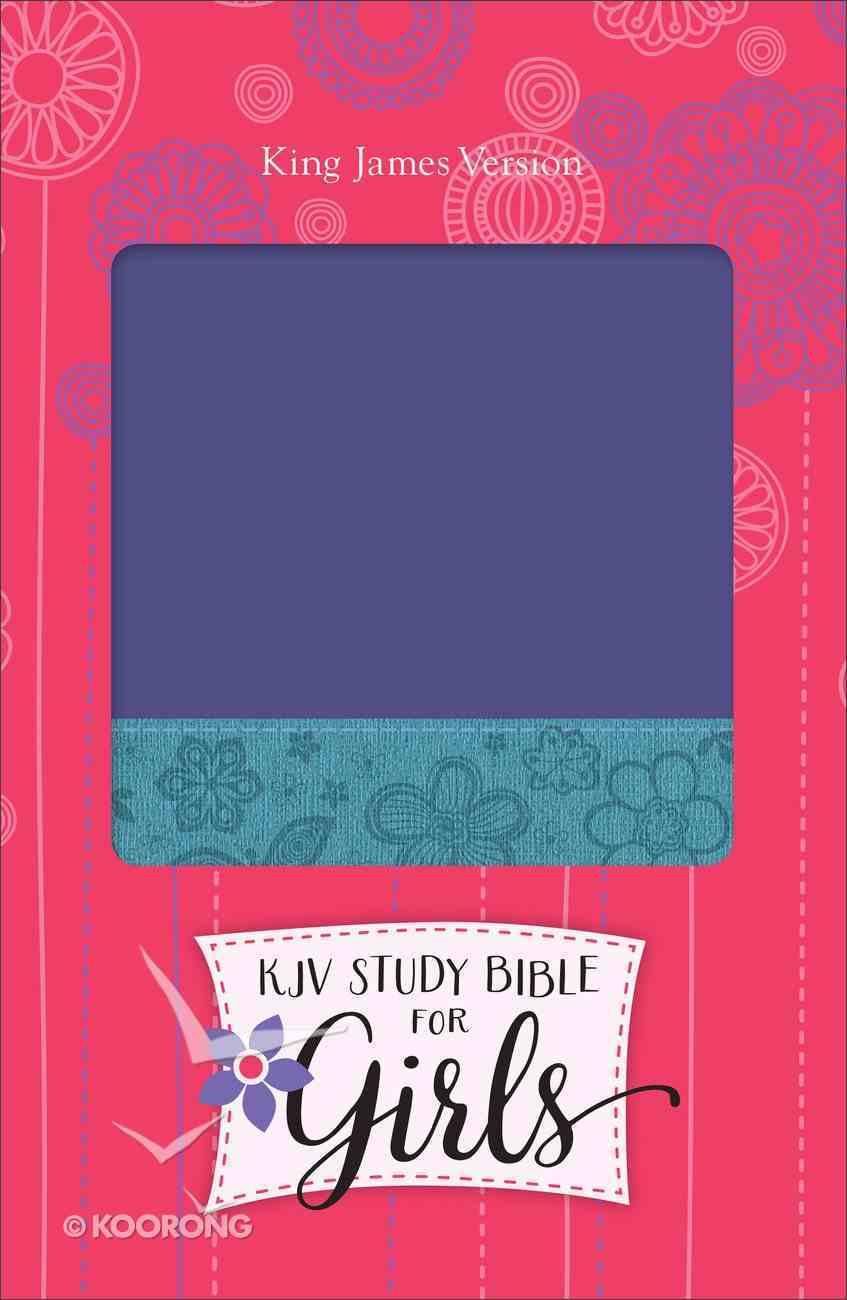 KJV Study Bible For Girls Grape/Surf Blue, Floral Design Duravella (Red Letter Edition) Imitation Leather