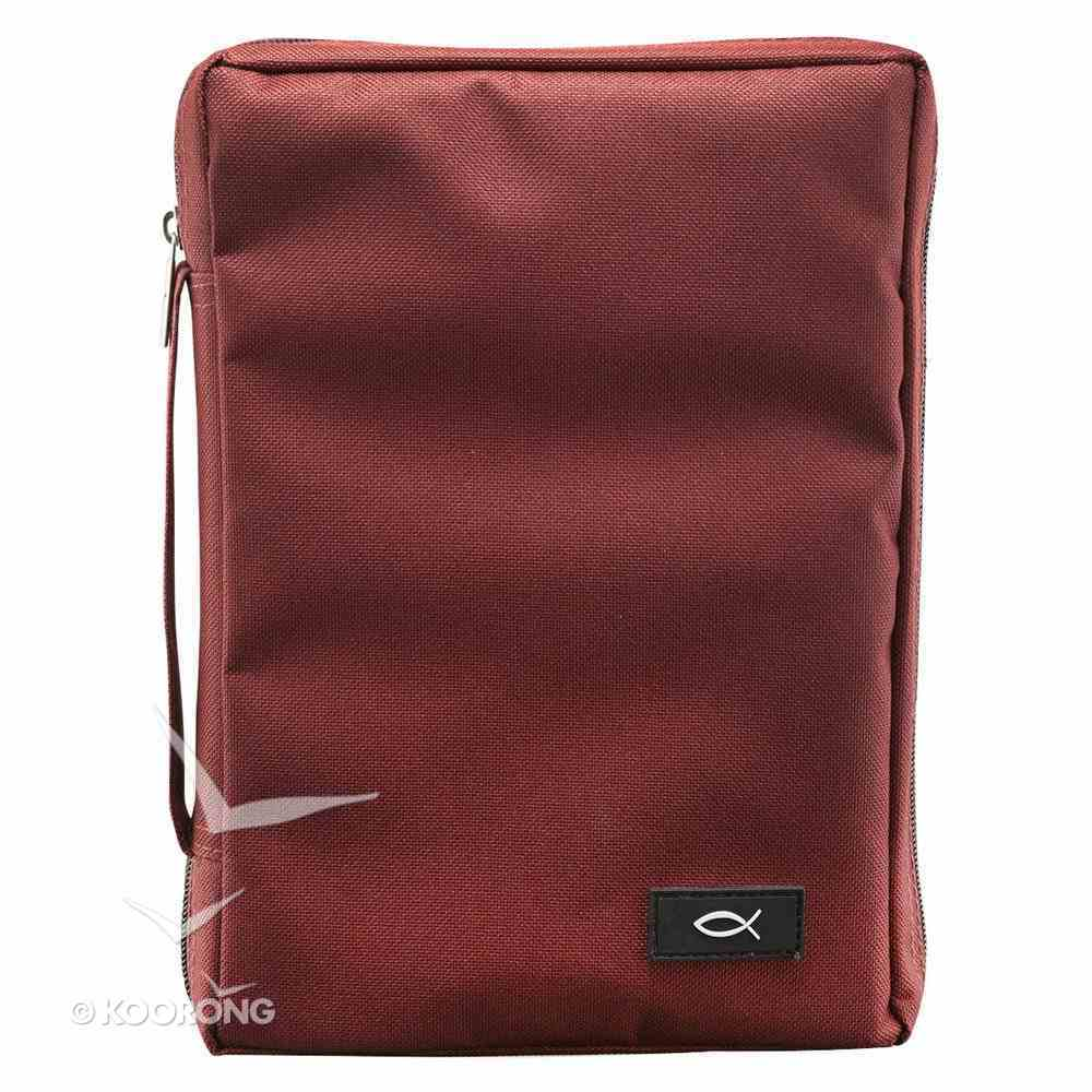 Bible Cover Polyester With Fish Label Burgundy Medium Bible Cover