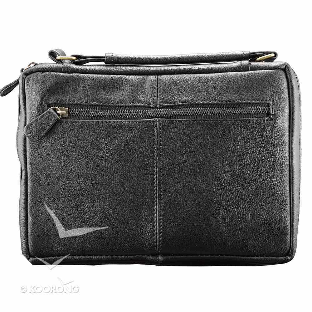 Bible Cover Genuine Leather Black Large, 2 Exterior Pockets, Fish Emblem Genuine Leather