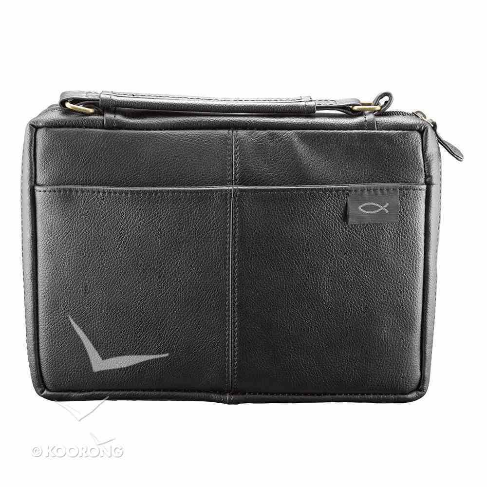 Bible Cover Genuine Leather Black Medium, 2 Exterior Pockets, Fish Emblem Genuine Leather