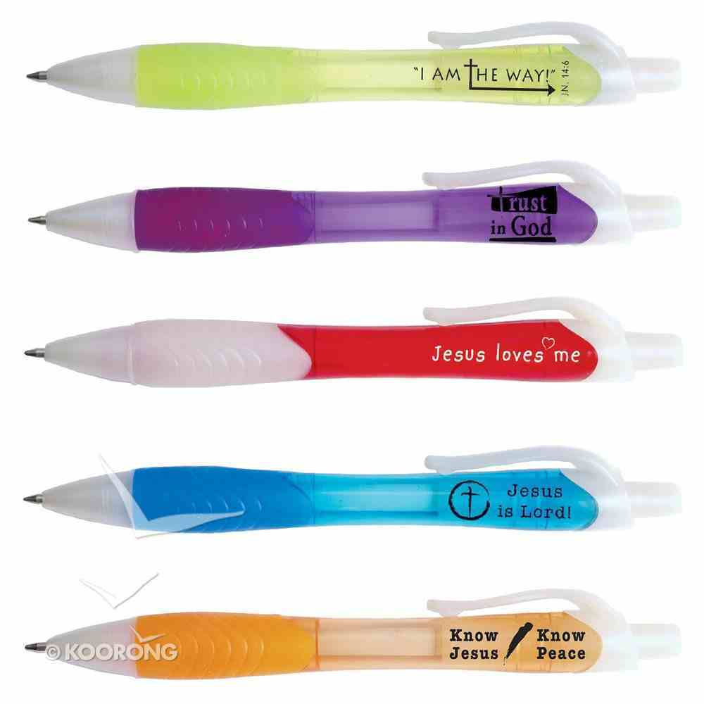 Ballpoint Pen, Assorted Playful, Rubber Grip With Scripture Stationery