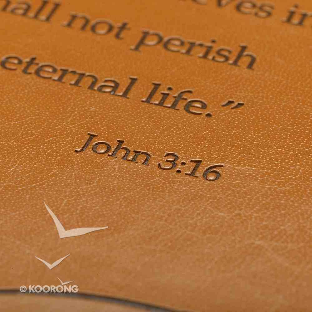 Bible Cover John 3: 16 Tan Large Two-Tone Luxleather Imitation Leather