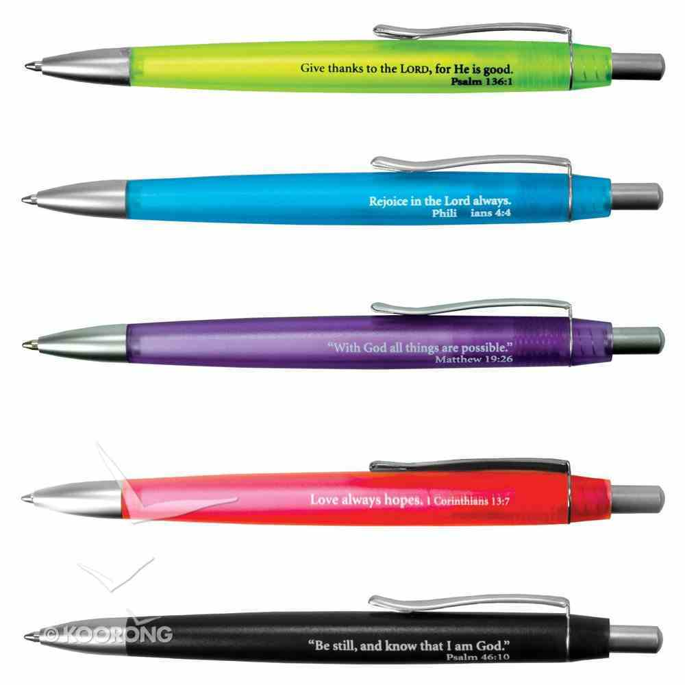 Ballpoint Pen, Assorted Fluorescent Colors, Scripture on Each Pen Stationery