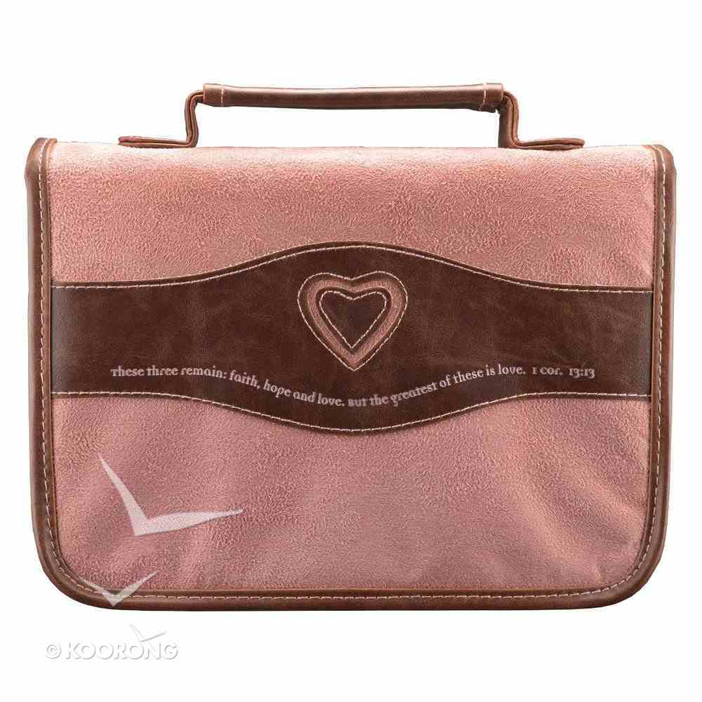 Bible Cover Classic Suede Large: Faith, Hope, Love Heart Pink/Brown Bible Cover