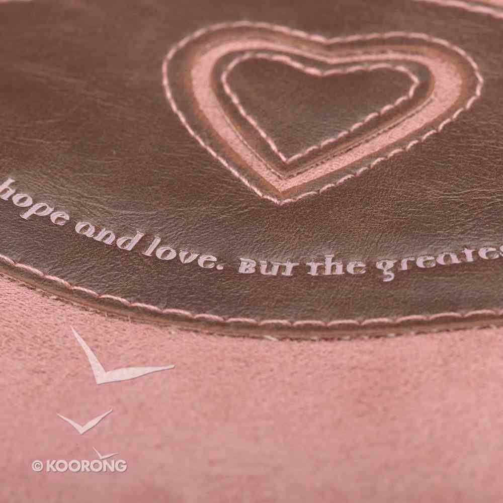 Bible Cover Classic Suede Medium: Faith, Hope, Love Heart Pink/Brown Bible Cover