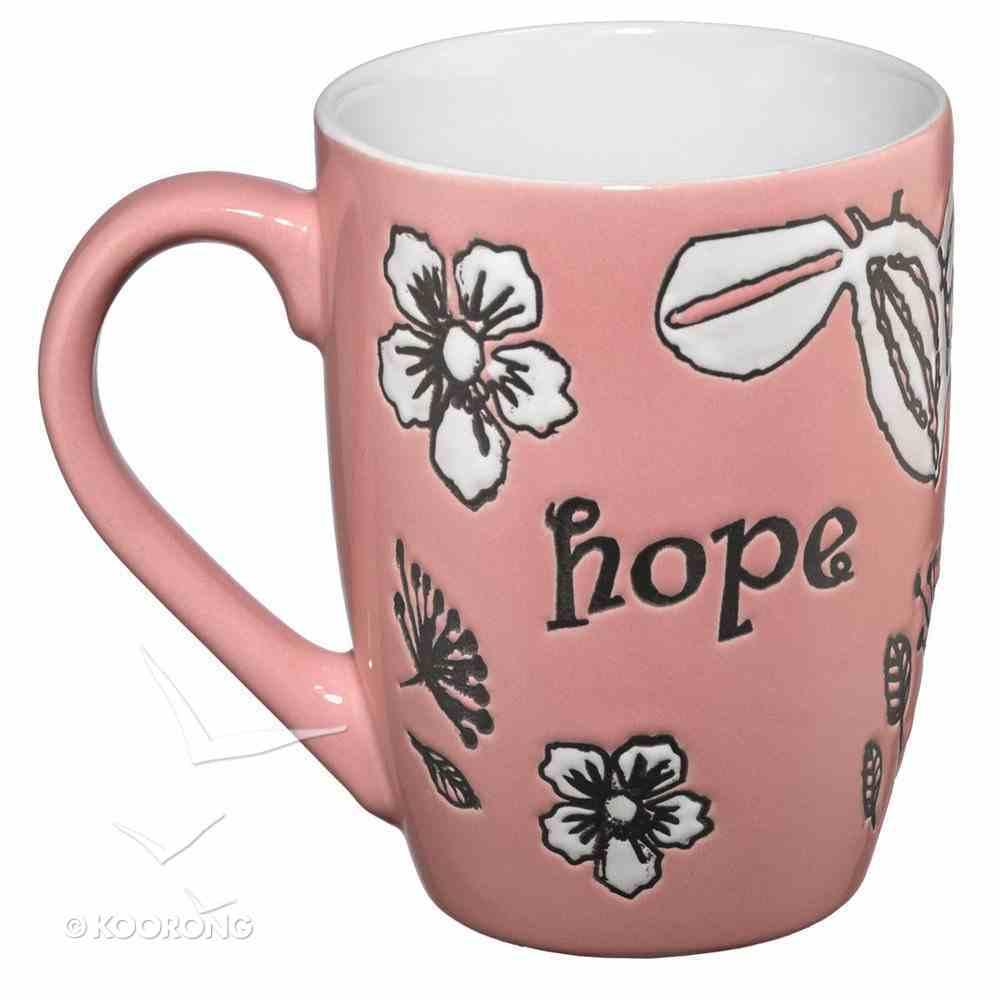 Inspirational Mug: Hope, White Floral/Pink Homeware