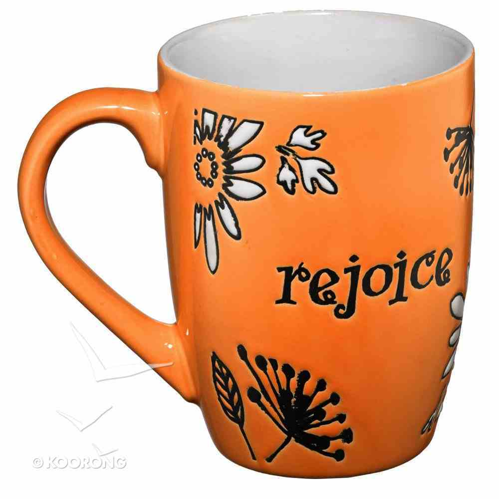 Inspirational Mug: Rejoice, White Floral/Orange Homeware