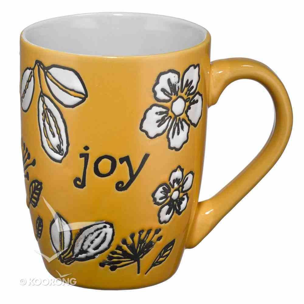 Inspirational Mug: Joy, White Floral/Yellow Homeware