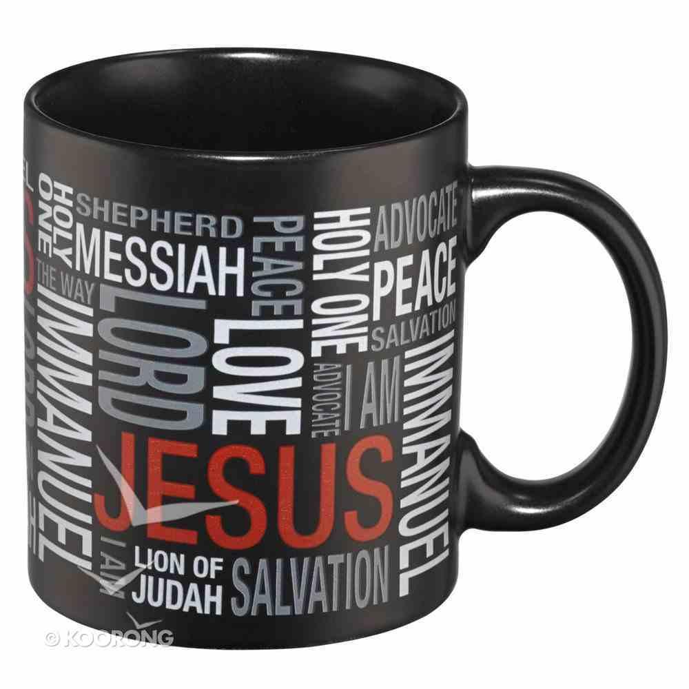 Inspirational Mug: Names of Jesus, Red/Black/White Homeware