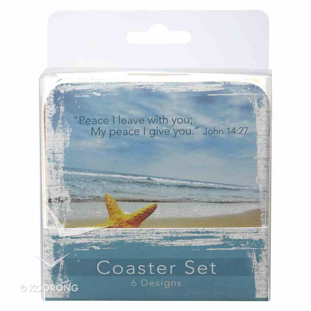 Coasters Set of 6: Seaside Scenes With Scripture, 6 Designs Homeware
