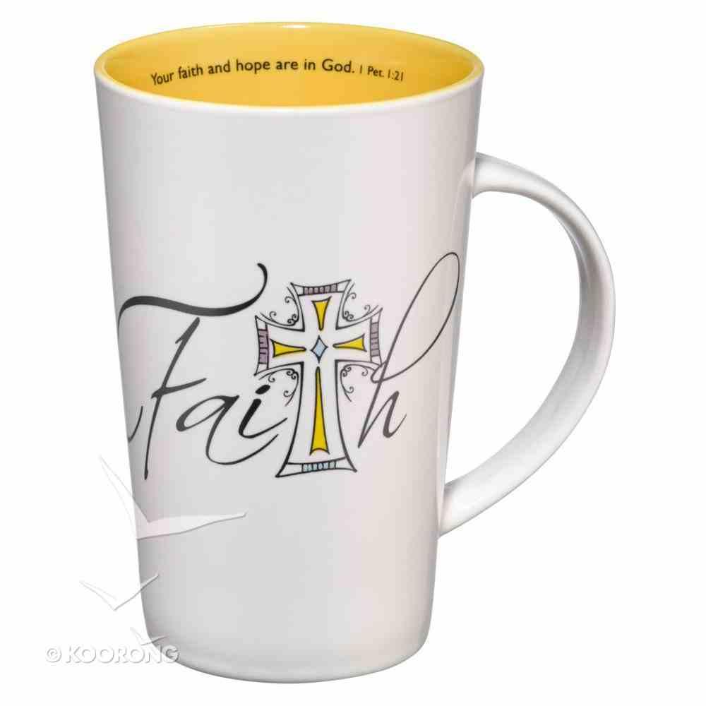 Ceramic Mug: Faith, Cross White/Yellow (1 Peter 1:21) Homeware