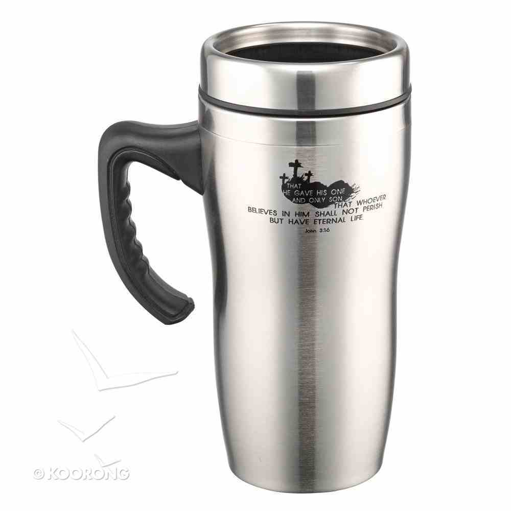 Stainless Steel Travel Mug With Handle: John 3:16 Homeware