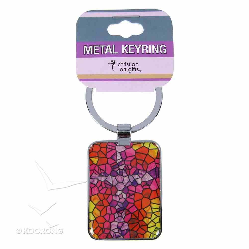 Metal Keyring: Cross, Stain-Glass Window Jewellery