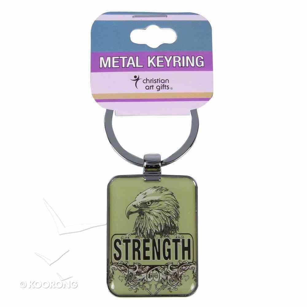 Metal Keyring: Strength, Eagle Beige Jewellery