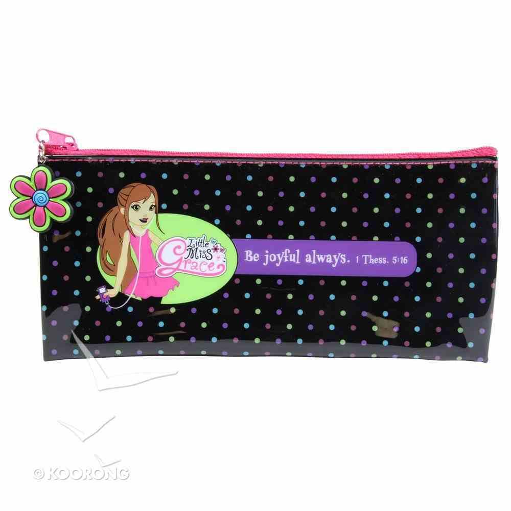 Pencil Case: Be Joyful Always (Little Miss Grace) (Black) Stationery