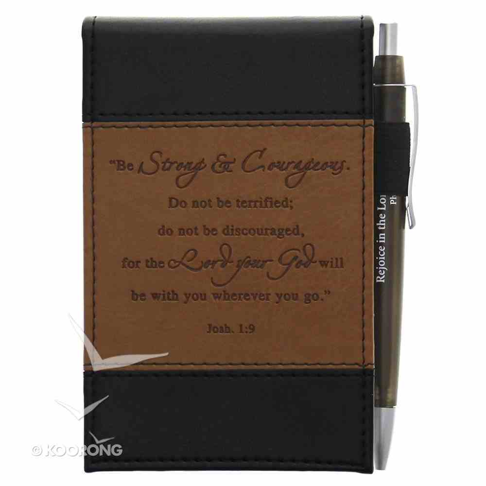 Pocket Notepad With Pens: Be Strong Brown/Black Luxleather Imitation Leather