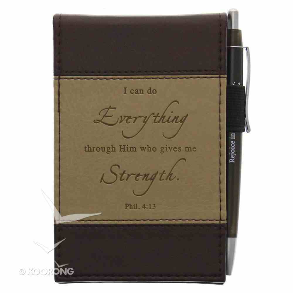 Pocket Notepad With Pen: I Can Do Phil 4:13 Brown/Tan Luxleather Imitation Leather