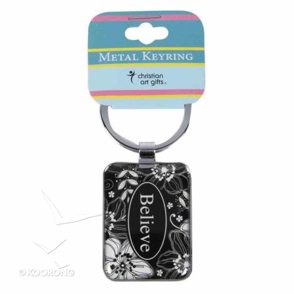 Metal Keyring: Believe Black & White Floral Jewellery