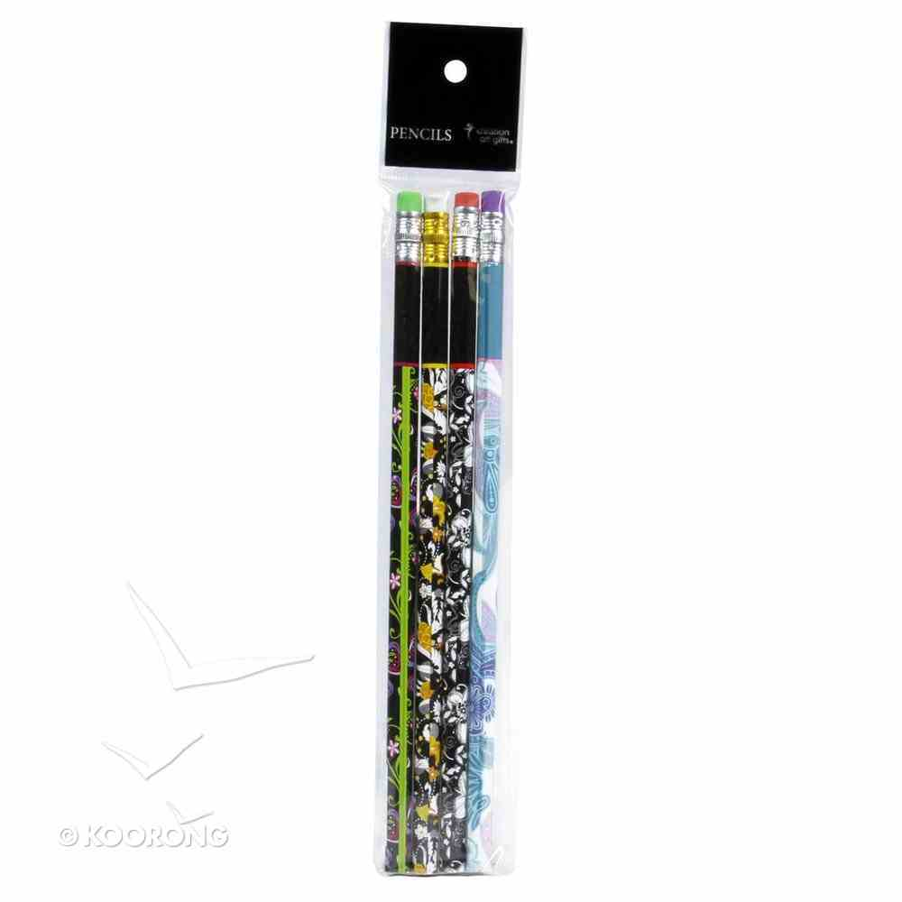 Pencil Set of 4: Rejoice, Trust, Hope, Peace With Eraser Stationery