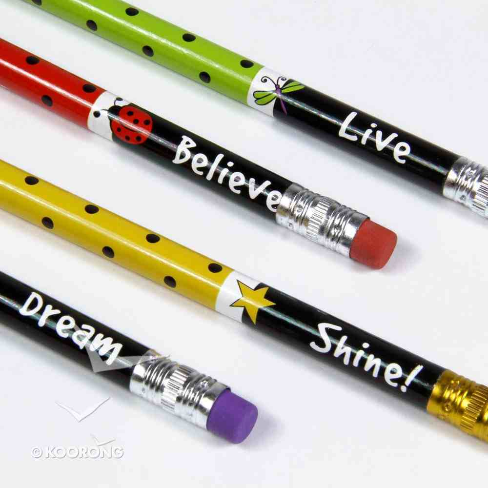 Laedee Bugg Pencil Set of 4: Believe, Dream, Live, Shine With Eraser Stationery