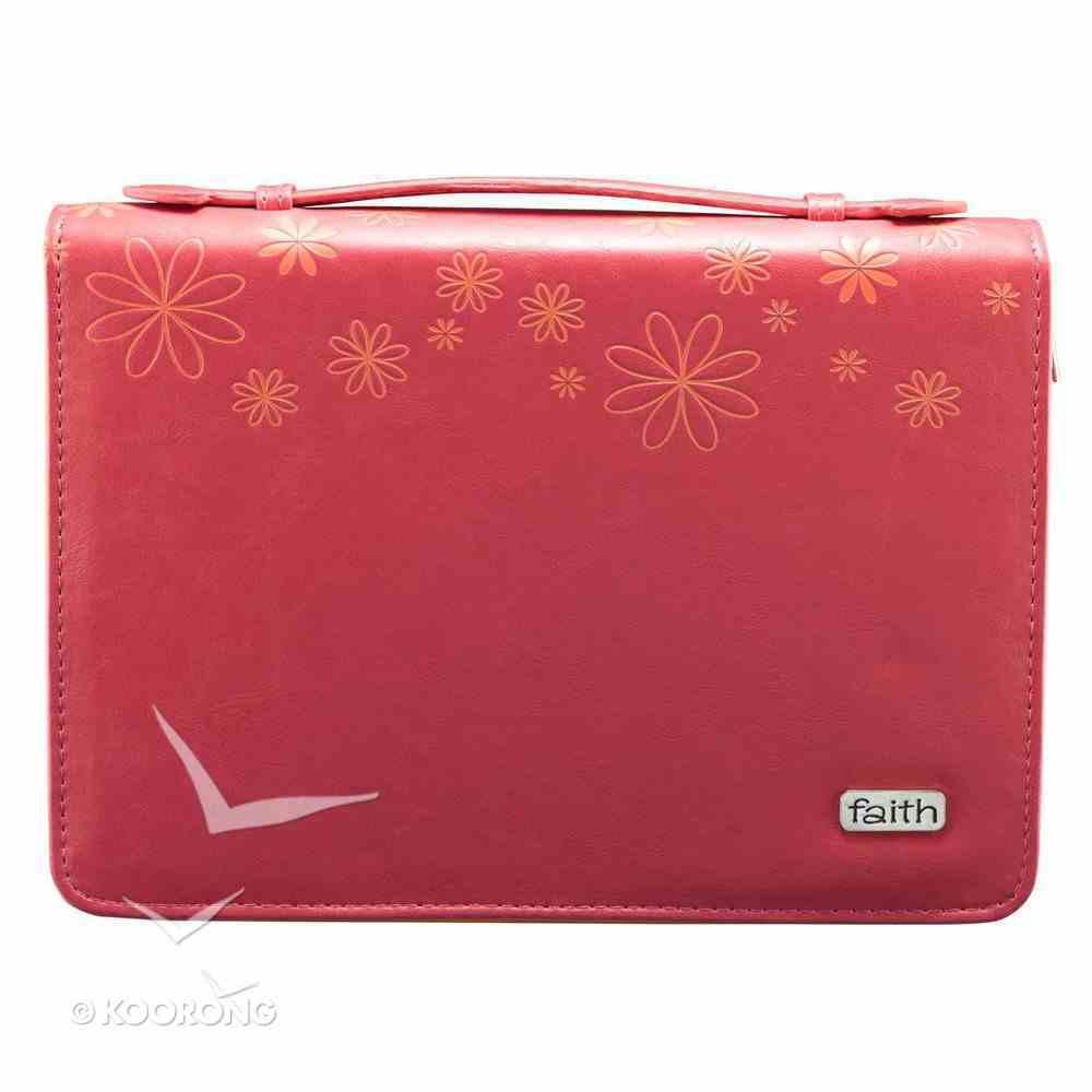 Bible Cover Pink Flower Medium Fashion Trendy Luxleather Imitation Leather