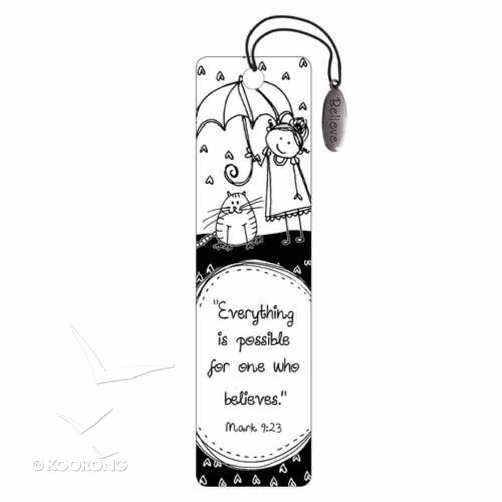 Bookmark: Believe Charm Black and White Stationery