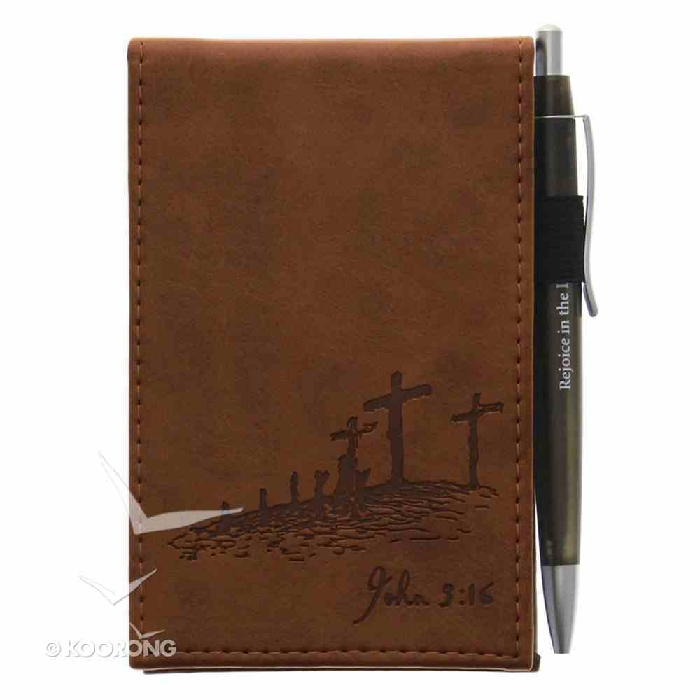 Pocket Notepad With Pen: John 3:16 Brown/Cross Luxleather Imitation Leather