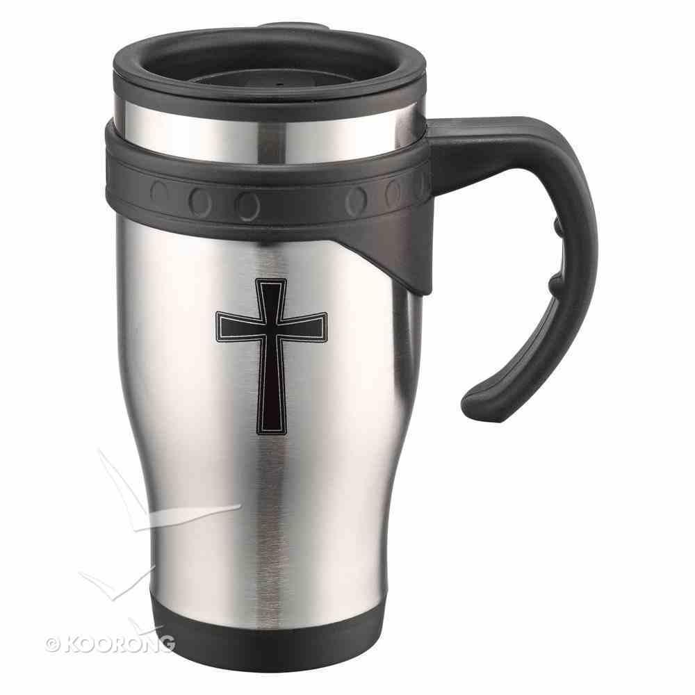 Stainless Steel Travel Mug With Handle: Cross, John 3:16 Homeware