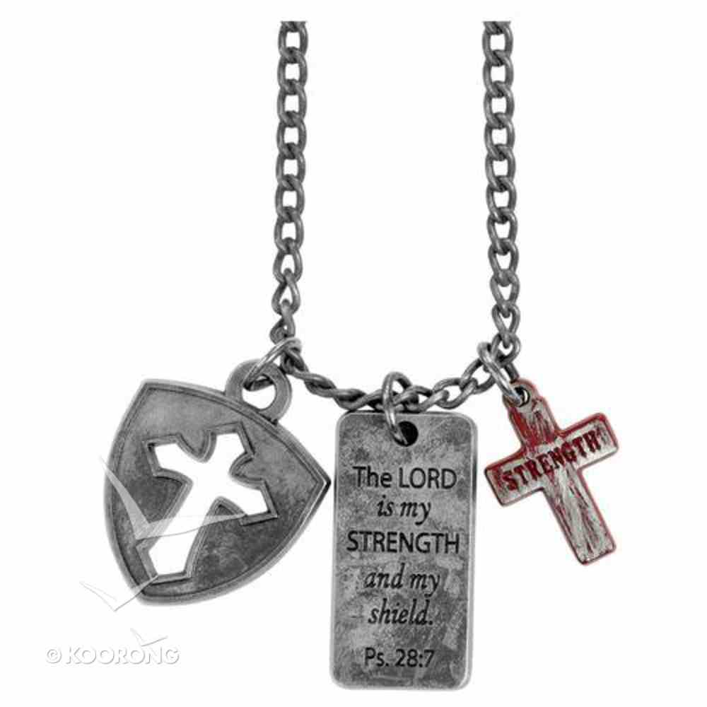 Dog Tag: The Lord is My Strength, Shield & Cross Jewellery