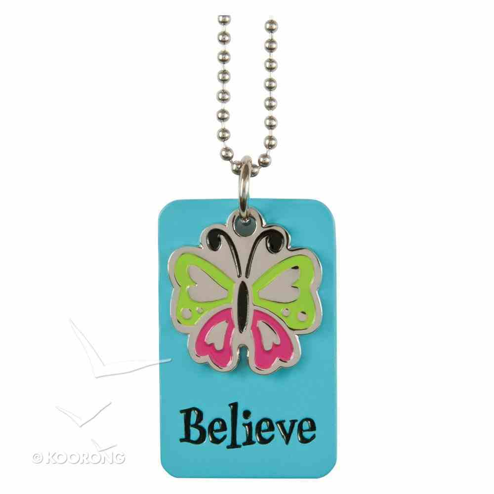Charm Dog Tags: Believe Butterfly Charm Jewellery