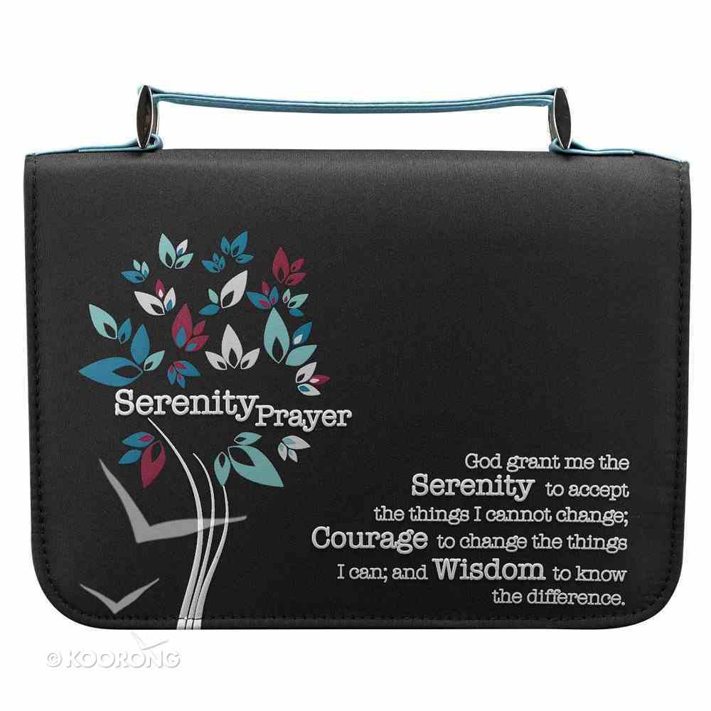 Bible Cover Micro-Fiber: Black With Serenity Prayer Large Bible Cover