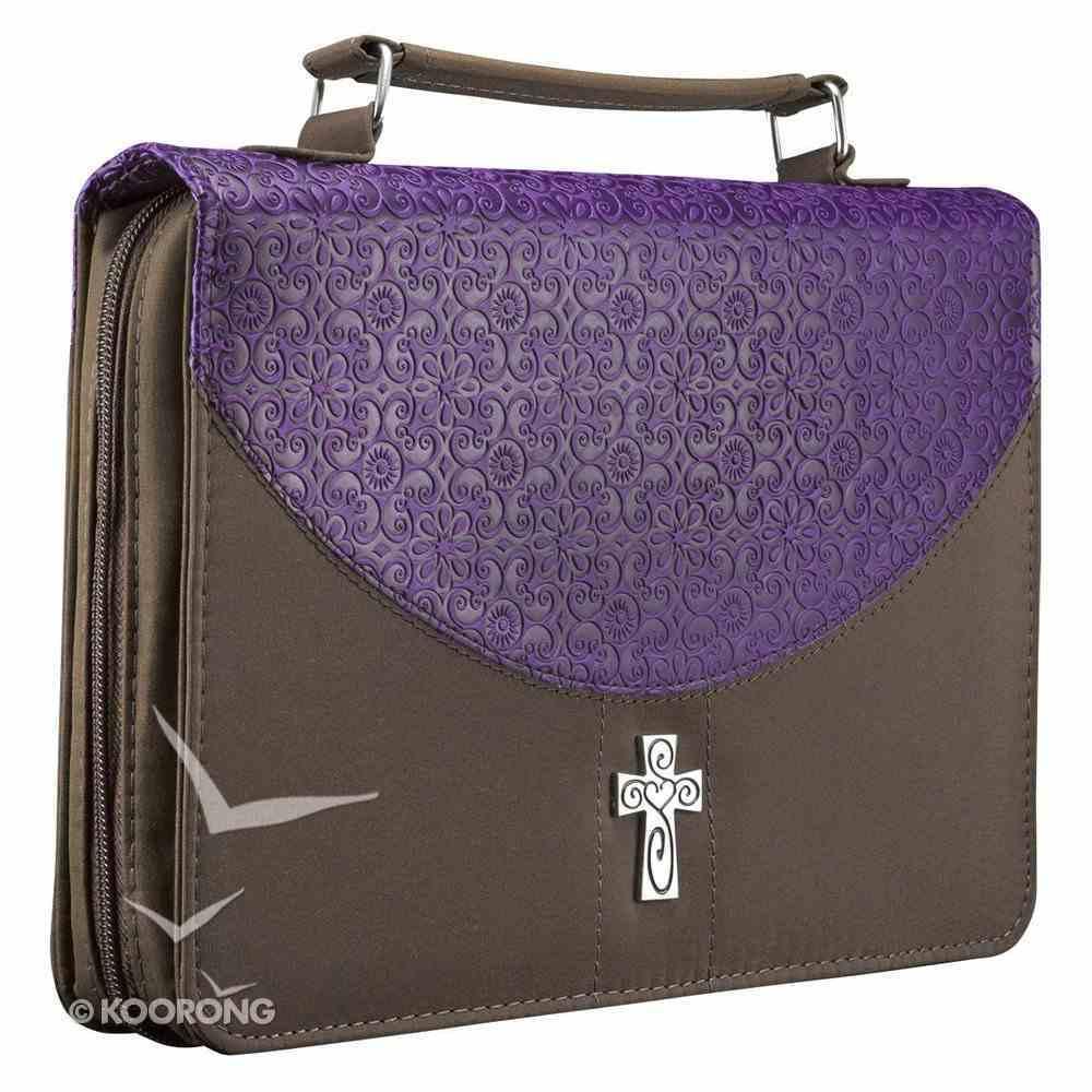 Bible Cover Micro-Fiber: Purple/Brown Large Luxleather Imitation Leather