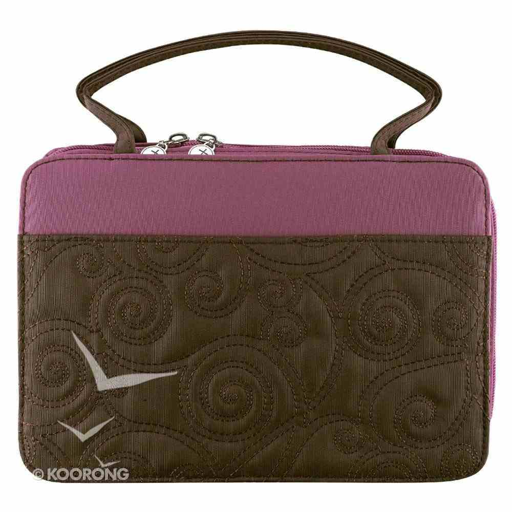 Bible Cover Micro-Fiber: Purse-Style Large Purple/Brown Bible Cover
