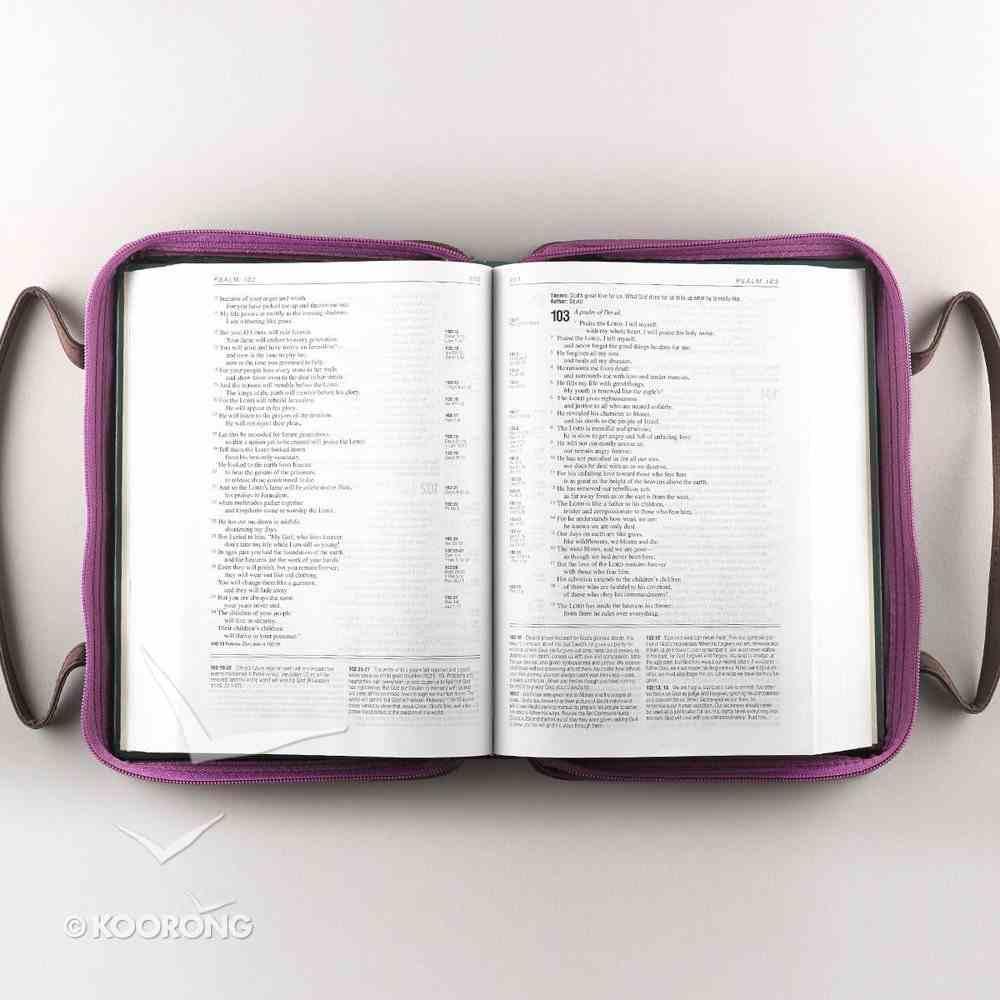 Bible Cover Micro-Fiber: Purse-Style Medium Purple/Brown Bible Cover
