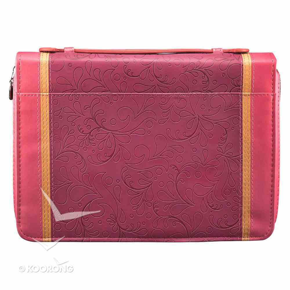 Bible Cover Pink Two-Tone With Cross Large Luxleather Imitation Leather