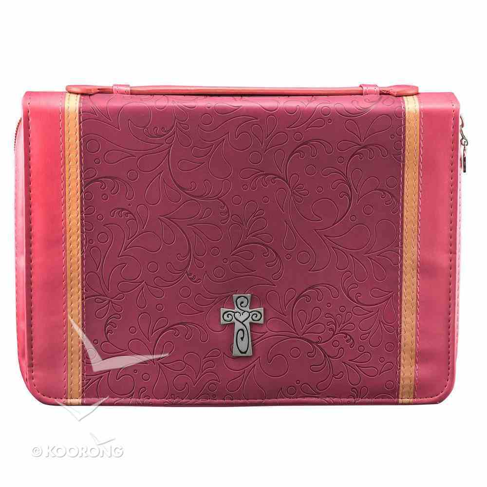 Bible Cover Pink Two-Tone With Cross Medium Luxleather Imitation Leather