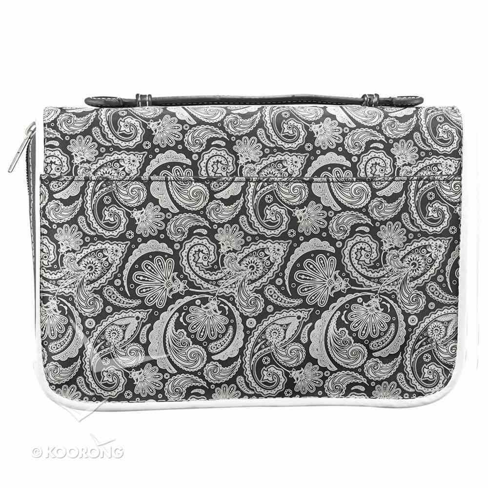 Bible Cover Micro-Fiber: Black Paisley Faith Large Bible Cover