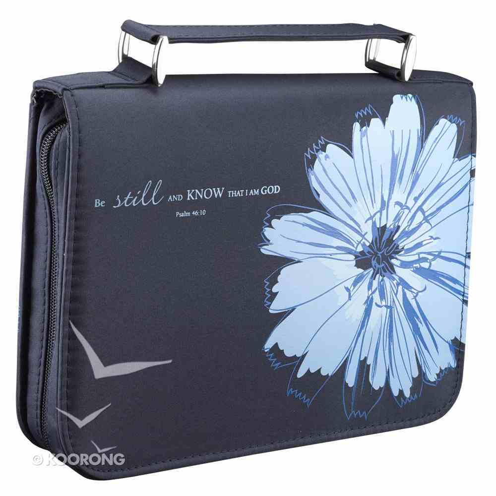 Bible Cover Micro-Fiber: Be Still and Know, Psalm 46:10, Blue Large Bible Cover