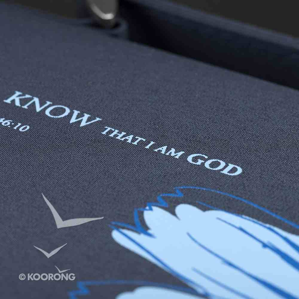 Bible Cover Micro-Fiber: Be Still and Know, Psalm 46:10, Blue Medium Bible Cover